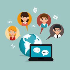 social media network globe isolated vector illustration eps 10