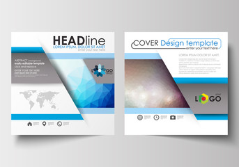Business templates for square design brochure, magazine, flyer, booklet. Leaflet cover, flat layout, easy editable blank. Abstract triangles, blue triangular background, colorful polygonal vector.