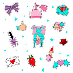 Fashion patch badges with lips, hearts, cute girl and other elem