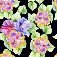 hibiscus in the summer garden. watercolor art. pattern