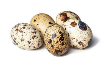 Quail eggs are isolated on a white background