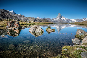 Stellisee - beautiful lake with reflection of Matterhorn - Zermatt, Switzerland