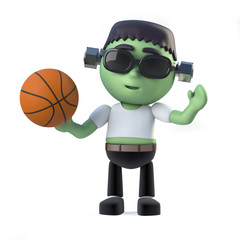 3d Child Frankenstein plays basketball