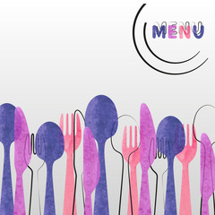 Restaurant menu card design. Vector brochure template with watercolor cutlery - spoon, fork and knife.