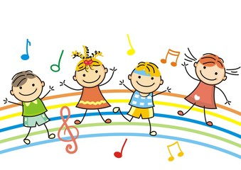 dancing children, vector icon,