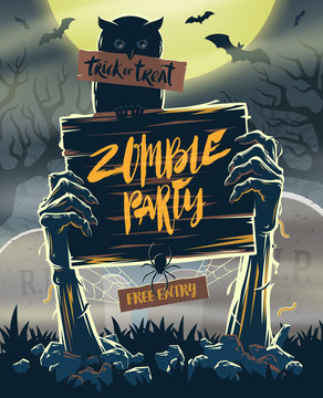 Halloween vector illustration - Dead Man's arms from the ground with invitation to zombie party