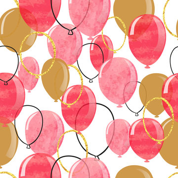 Watercolor pink, red and glittering gold balloons seamless pattern. Vector celebration background.
