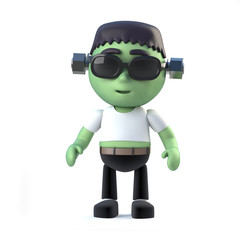 3d Child Frankenstein looks naughty