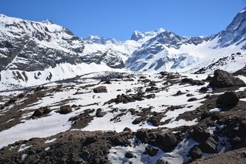 Landscape of mountains, volcano, glacier, snow, valley in Chile