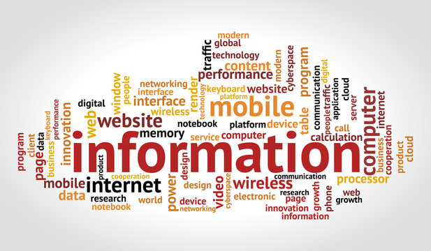 Information word cloud. Technology and internet concept.