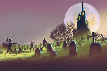 spooky castle,Halloween concept,cemetery with zombies at night,illustration painting