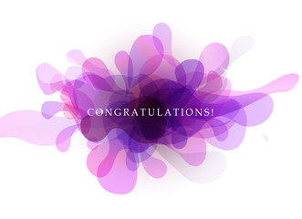Abstract background with transparent bubbles and congratulations