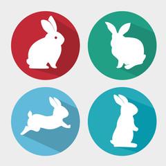 set cartoon icon rabbit design isolated vector illustration eps 10