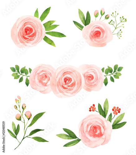 Watercolor pink roses flower illustration elements stok grseller watercolor pink roses flower illustration elements mightylinksfo