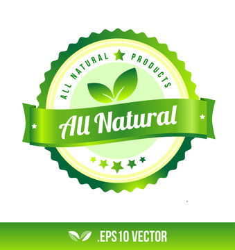 All natural badge label seal