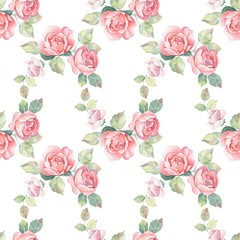Floral branch. Watercolor seamless pattern 1.  Hand painted background with roses