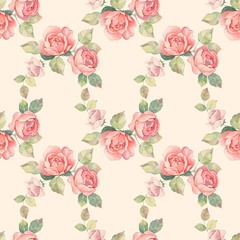 Floral branch. Watercolor seamless pattern 2.  Hand painted background with roses