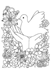 Pigeon on hands and flowers