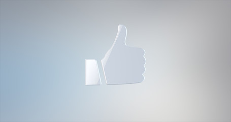 Thumb up  White 3d Icon