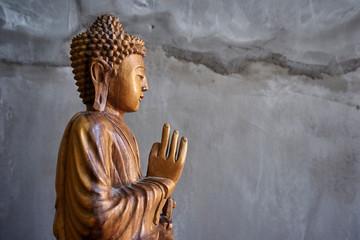 Printed kitchen splashbacks Buddha Wooden buddha statue
