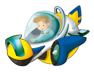 Cartoon scene with boy flying in the space ship - isolated - illustration for children