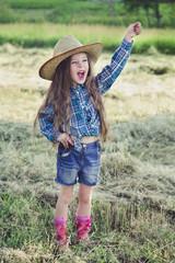 Portrait little girl Cowboy