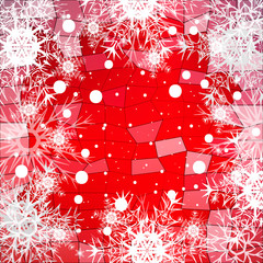 Frame of snowflakes on a red background with a polygonal pattern. vector illustration.