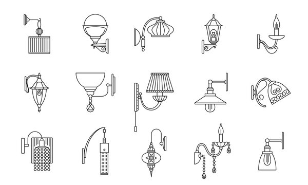 Wall lamps line icons set. Vector illustration.