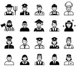 Avatar and People occupations icons. Human resources.