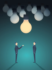 Two businessmen standing under lightbulb as a symbol of business creativity. Creative sign vector concept background.