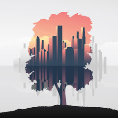 Tree and urban business skyline double exposure vector illustration background. Symbol of environment, nature, ecology.