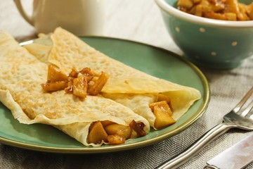Apple Crepes / Crepes with Caramel apple filling, selective focus