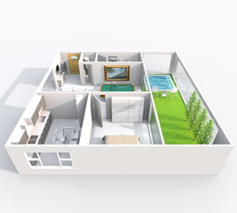 3d interior rendering perspective view of furnished home apartment with green patio and pool