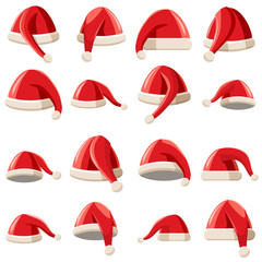 Red Santa Claus hat icons set in cartoon style. Santa hats set collection vector illustration