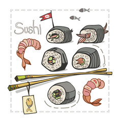 Sushi set with chopsticks on white background. Asian food. Vector illustration.
