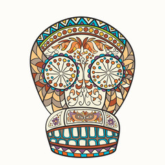 Mexican skull, the original pattern. Vector illustration. Sugar Skull. Day of The Dead colorful Skull with floral and ethnic ornament.