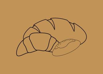 flat design types of bread image vector illustration