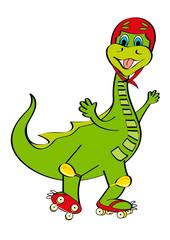 dinosauro con pattini e casco