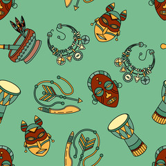 Pattern with voodoo vector symbols.