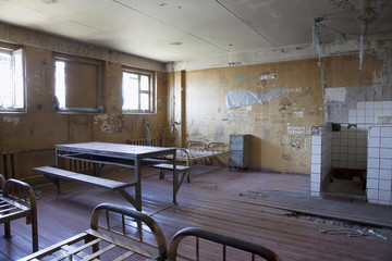 Cell interior at abandoned prison jail