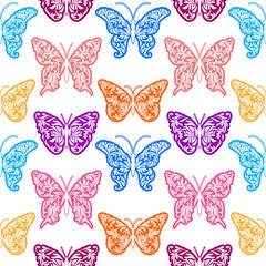 Seamless pattern with color butterflies on a white background