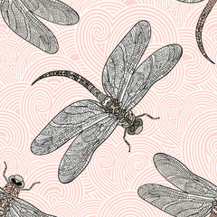 Seamless vector pattern with dragonfly on a rose background.