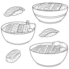 vector set of rice with raw fish
