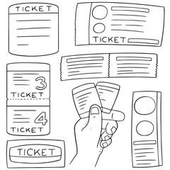 vector set of ticket