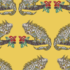 Vector seamless pattern with hand drawn iguana.
