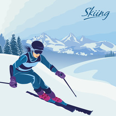 Slalom and downhill skiing. Active winter holidays, vacation, travel. Downhill and extreme sports. Mountain peaks and snow-covered spruce. Empty space for text.
