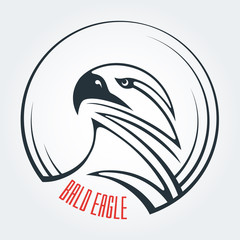 The template and the idea for the logo. Abstract image of an eagle's head. Round icon and place for text. Bald eagle, vulture, carnivore. Symbol of strength and determination.