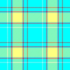 vibrant blue, yellow and red check diamond tartan plaid fabric seamless pattern texture background