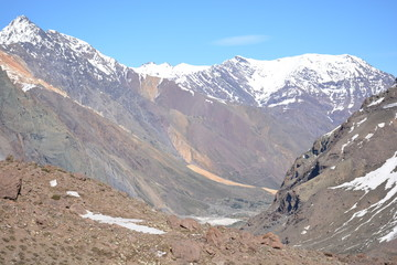 landscapes of volcano, valley, lake, mountains, glacier and snow in Chile