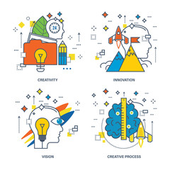 Concept of creativity, innovation, vision, creative process.